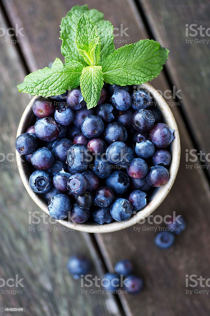 Blueberries in a Ceramic Bowl stock photo