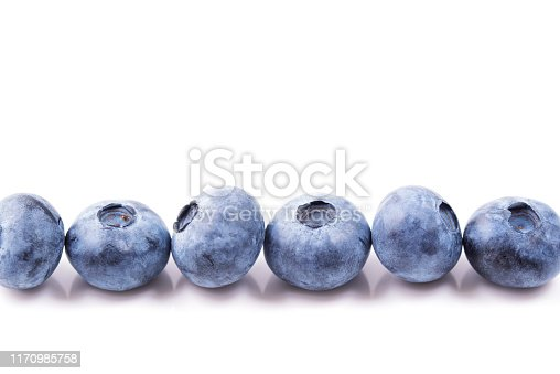 853493518 istock photo Blueberries in a row isolated on white background 1170985758