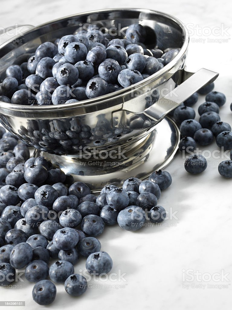 Blueberries in Metal Stainer stock photo