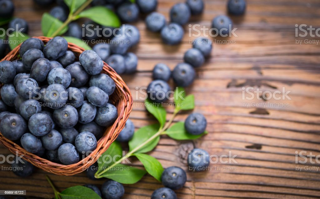 Blueberries in the basket stock photo
