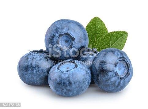 853493518 istock photo Blueberries isolated on white background 805172136