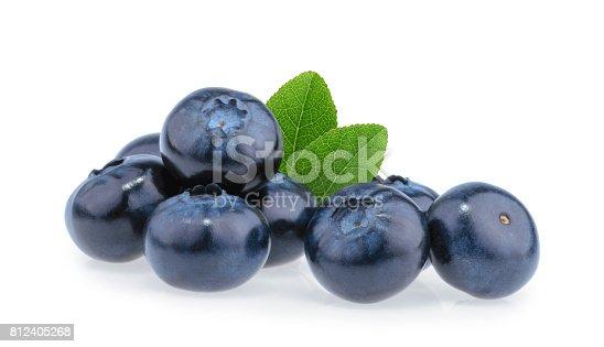853493518 istock photo Blueberries isolated on white background 812405268