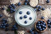 istock Blueberries, oat flakes and yoghurt 1207478776