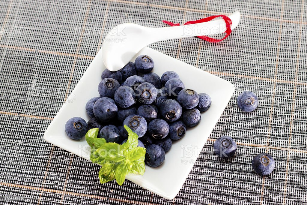 Blueberries on a table with nobody. royalty-free stock photo