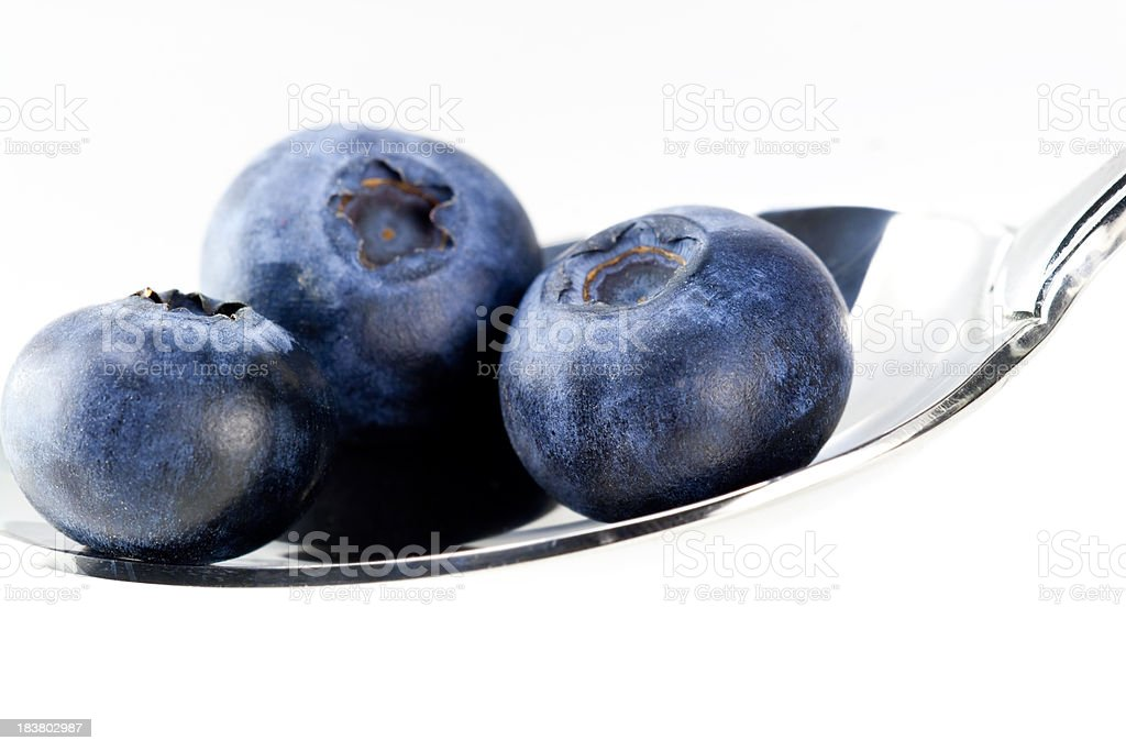Blueberries on Spoon royalty-free stock photo