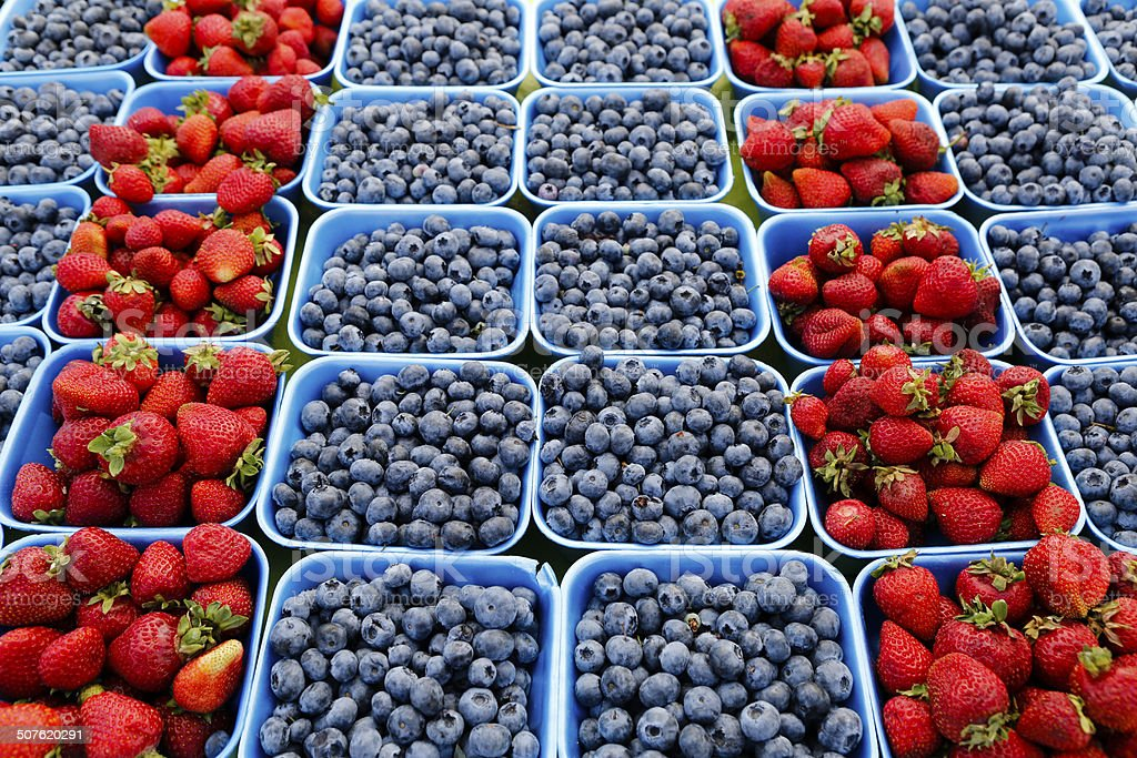 blueberries strawberries organic stock photo