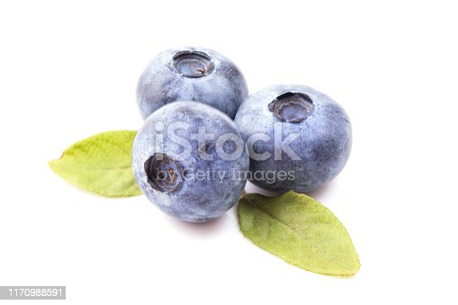 853493518 istock photo Blueberries with leaves isolated on white background 1170988591