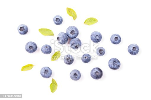 828761410 istock photo Blueberries with leaves isolated on white background, top view 1170985850