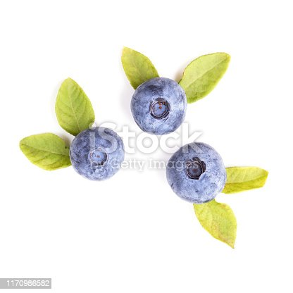 853493518 istock photo Blueberries with leaves isolated on white background, top view 1170986582