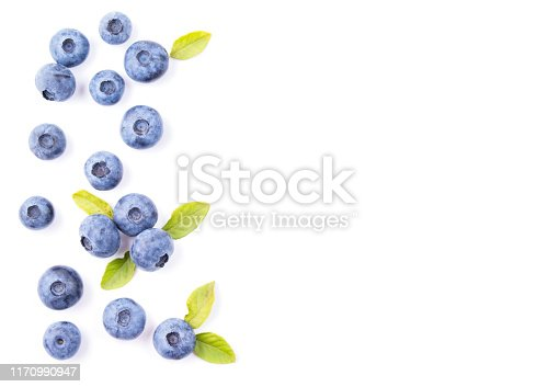 828761410 istock photo Blueberries with leaves isolated on white background, top view 1170990947