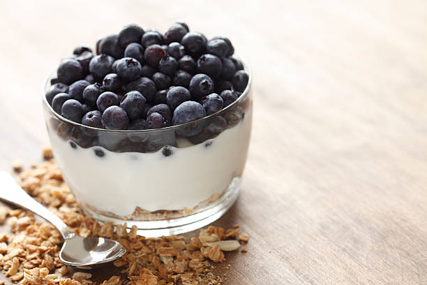 Blueberries Yogurt and Granola stock photo