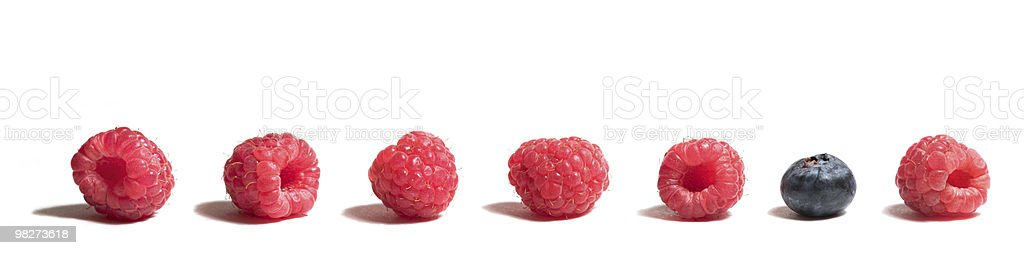 Blueberry among Raspberries royalty-free stock photo
