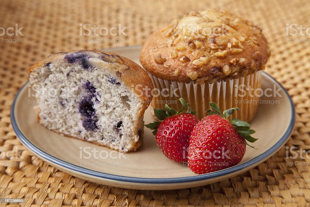Blueberry and Banana Nut Muffins stock photo