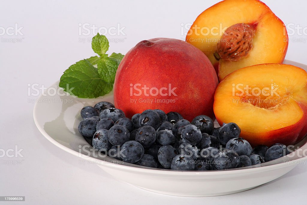 blueberry and peach bowl royalty-free stock photo