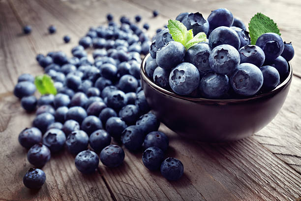 Blueberry antioxidant organic superfood stock photo