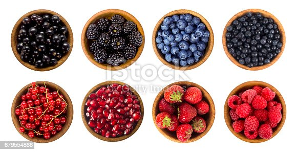 istock Blueberry, blackberry, cherry, strawberry, currant and raspberry. Top view. 679554866