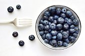 Blueberry bowl on a white background