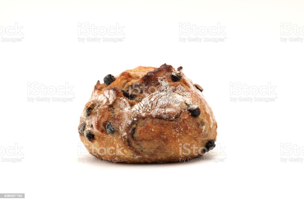 blueberry bread french bread isolated on white background stock photo