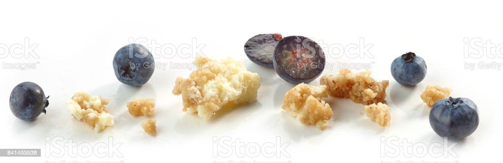 Blueberry cheese cake crumbs stock photo