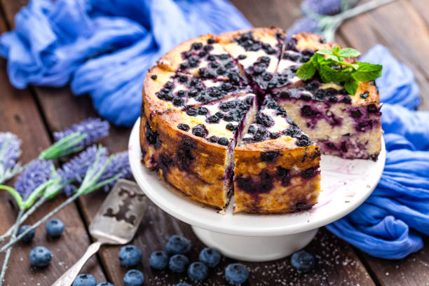 blueberry cheesecake - blueberry pie stock pictures, royalty-free photos & images