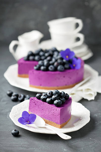 Blueberry cheesecake with fresh blueberries stock photo