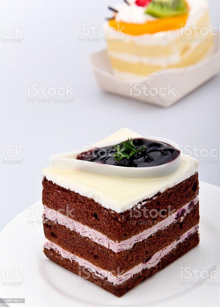 Blueberry chocolate cake royalty-free stock photo