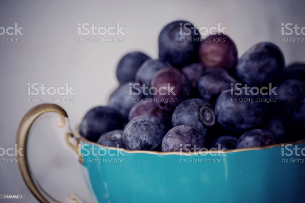 Blueberry closeup in vintage blue teacup stock photo