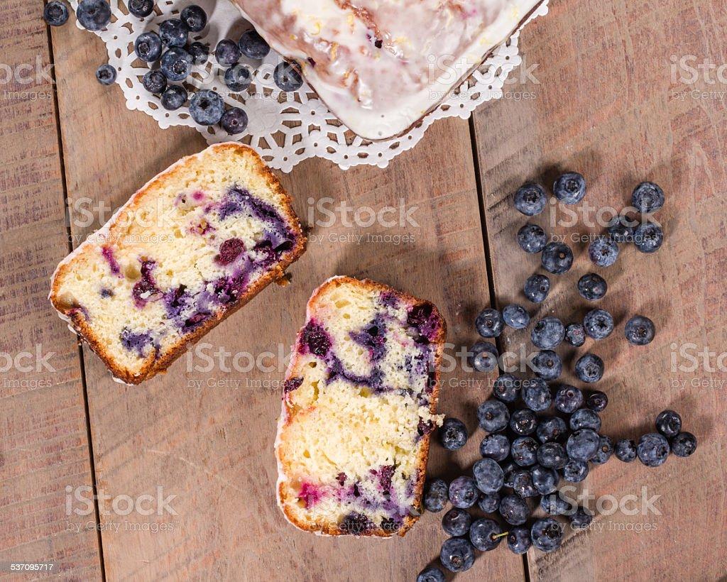 Mirtilo com bolo de café e bolo de mirtilo - foto de acervo