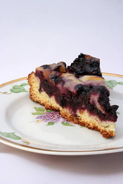 Blueberry Cream Flan stock photo