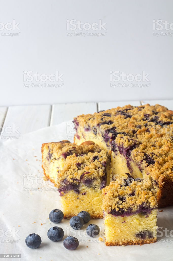 Blueberry Crumble Cake Vertical with Copy Space stock photo
