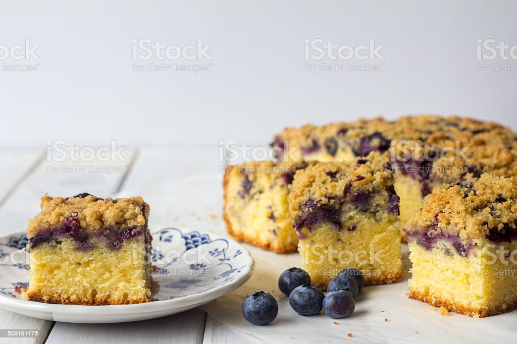 Blueberry Crumble Cake with Copy Space stock photo