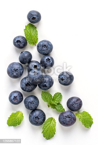 670420880 istock photo Blueberry fruit top view isolated on a white background, flat lay overhead layout with mint leaf, healthy design concept. 1255857122