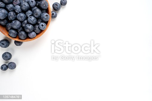 670420880 istock photo Blueberry fruit top view isolated on a white background, flat lay overhead layout with mint leaf, healthy design concept. 1257484761