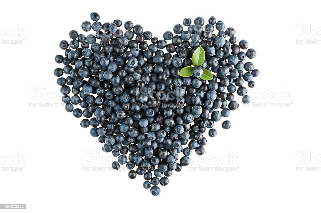 Blueberry heart shape stock photo
