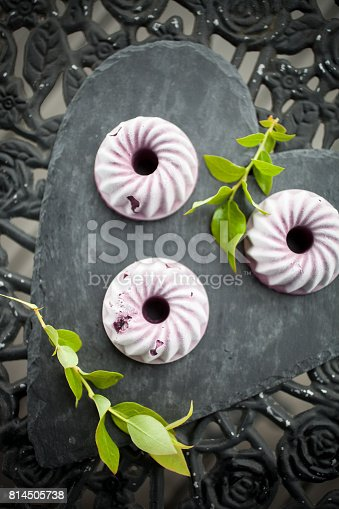 Mini blueberry ice cream cakes