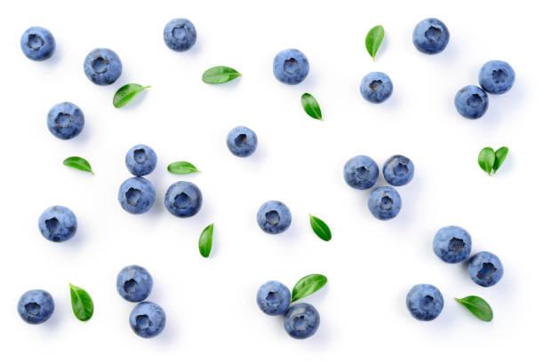 blueberry isolé. fond de bleuets. bleuetsursuré sur le fond blanc. avec des feuilles. - fond blanc photos et images de collection