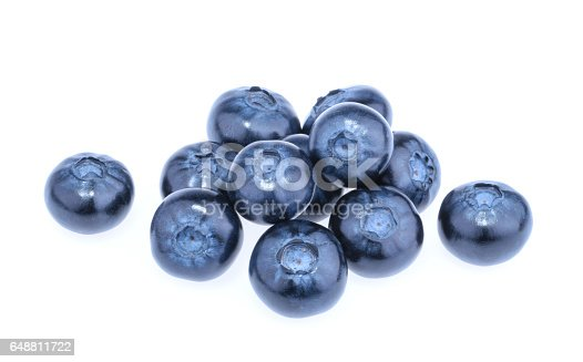 853493518 istock photo Blueberry isolated on white background 648811722