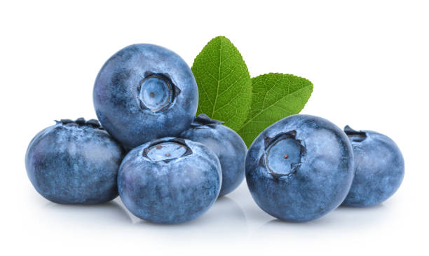 blueberry isolated on white background - blueberry stock pictures, royalty-free photos & images
