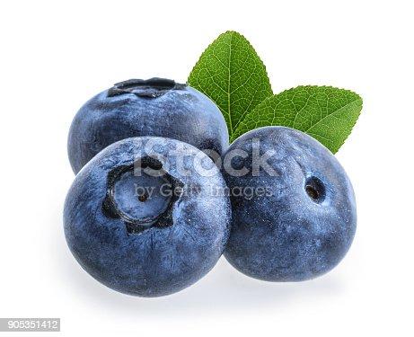 853493518 istock photo blueberry isolated on white background 905351412