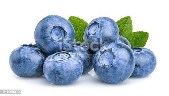 853493518 istock photo blueberry isolated on white background 941059020