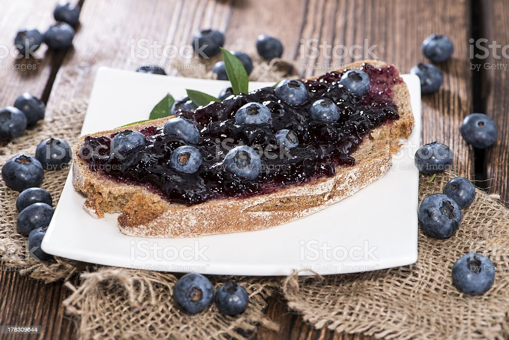 Blueberry Jam on a bread royalty-free stock photo