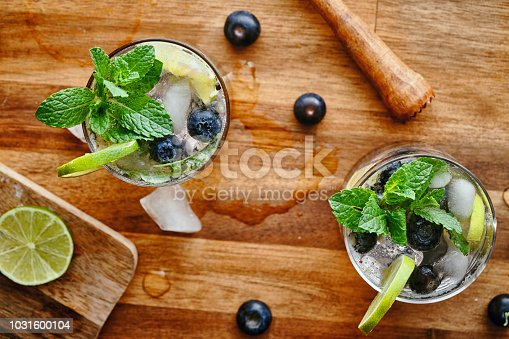 Blueberry Mojito with white rum, lime, mint and crushed ice