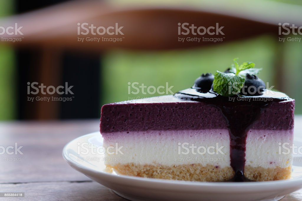 Blueberry Mousse Cake Topped with  fresh Blueberries stock photo