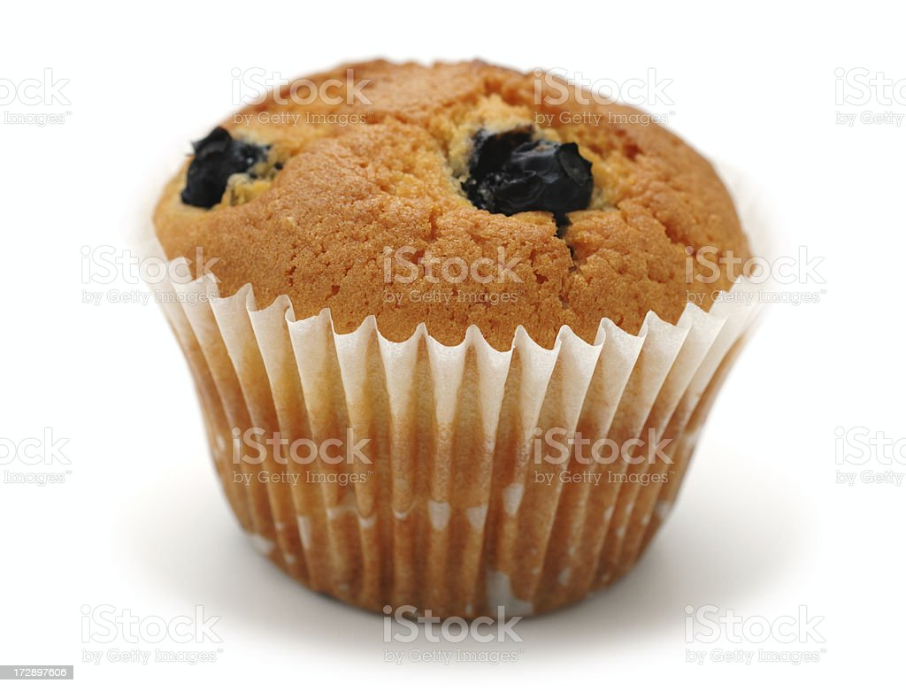 blueberry muffin against white stock photo