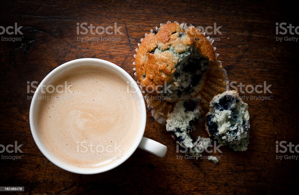 blueberry muffin and coffee from above stock photo