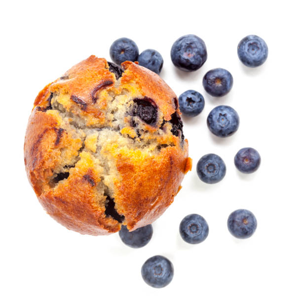 blueberry muffin isolated on white top view - muffin foto e immagini stock