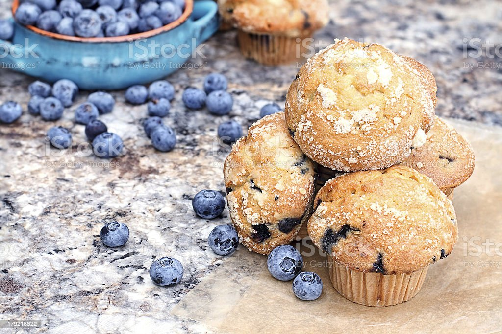 Blueberry Muffins and Berries stock photo
