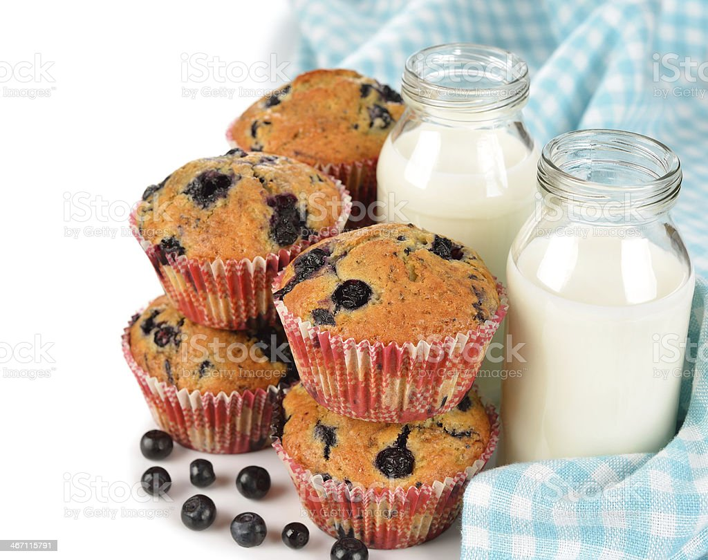 Blueberry muffins and milk royalty-free stock photo