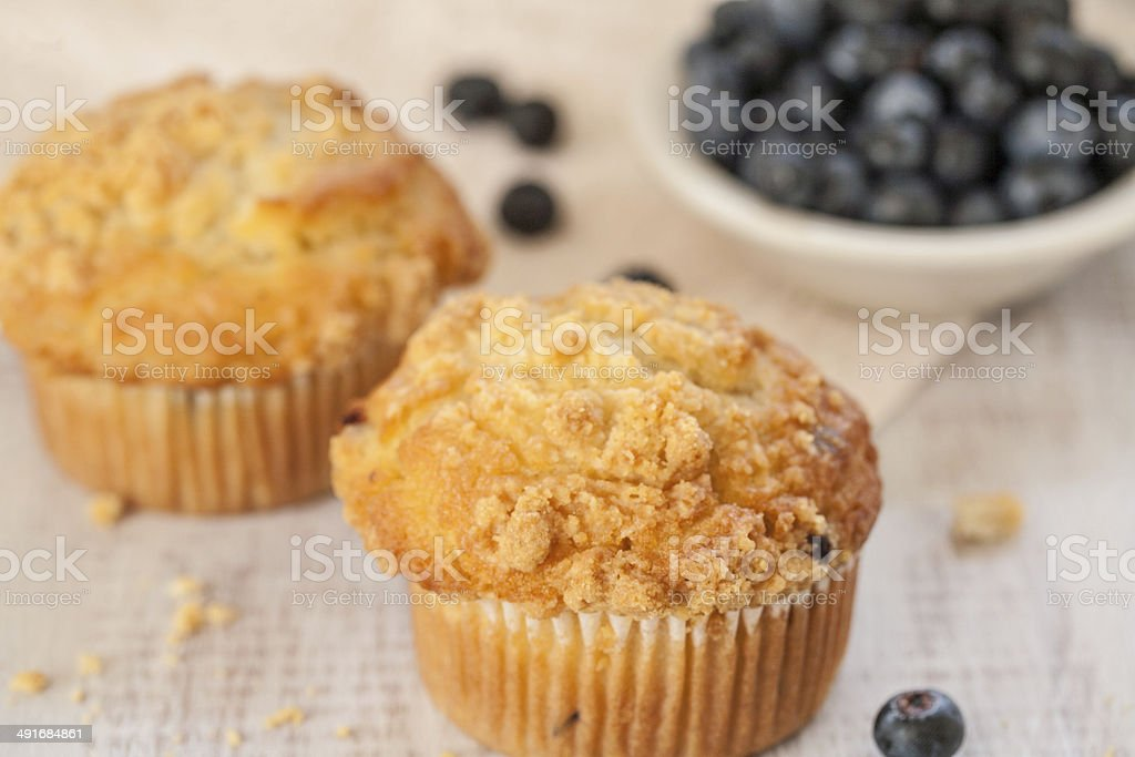 Blueberry Muffins With Crumbs Close Up stock photo