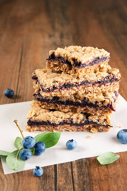 Blueberry oat bars stock photo